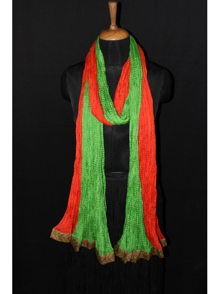 Dupatta Orange Lime Green